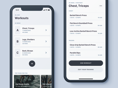 Workout App ios app training app gym workout interface