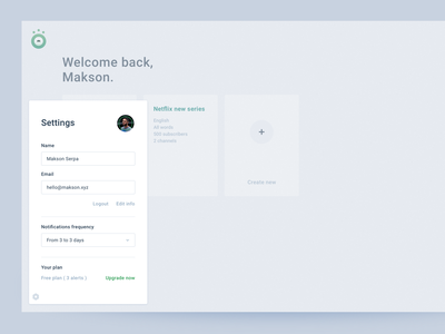 Dashboard - Settings web interface ux design ui upgrade logout profile plans form field settings page dashboard
