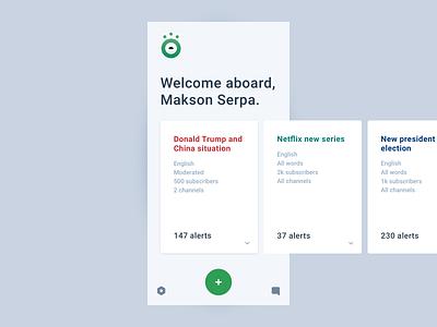 Beholddy - Dashboard Mobile news mobile cards ux design app interface dashboard alerts ui