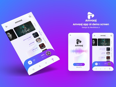 Amvaaj music app UI design photoshop branding creative design app ui neostudio brand logo design logodesign logo uiux application music amvaaj app design music app uidesign ui design ui