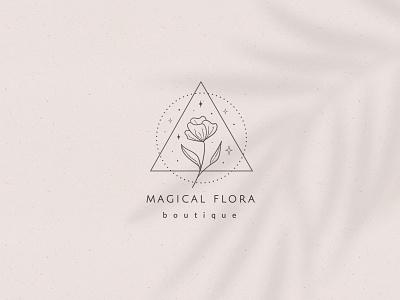 Pre-made Logo Template + Packaging geometric logo floral logo boutique logo stars design seamless flowers illustration patterns branding graphics logo vector floral