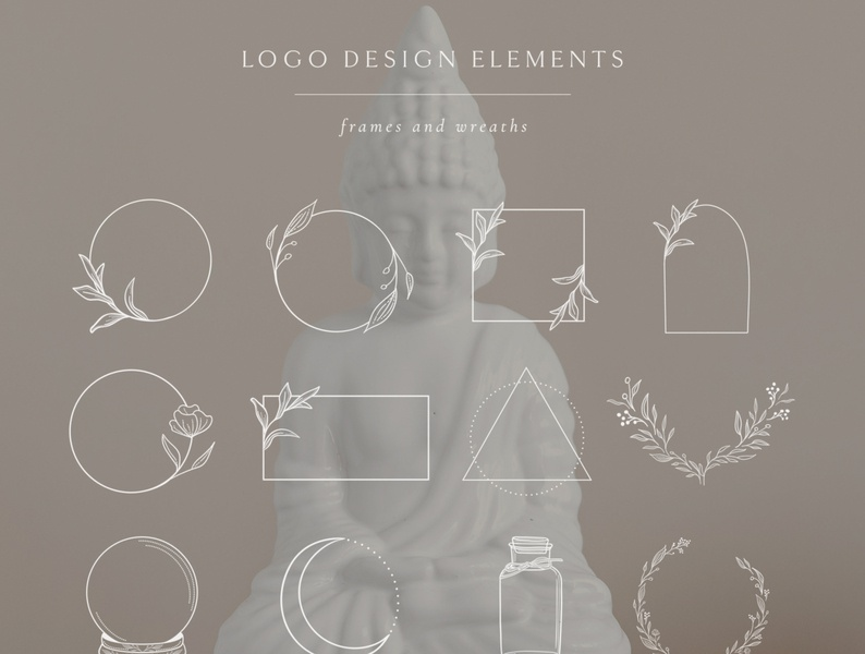 White Logo Elements, Frames and Borders. Spiritual, Astrologyю moon olive icons tattoo wreath ball magic branch leafy cosmos crescent round circle capsule rectangle triangle graphics branding vector logo