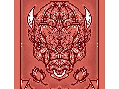Buffalo Rose - Monoline Illustration ipad texas austin designer graphic design poster art artwork artist draw monoline procreate bison illustrator illustration drawing art animal buffalo