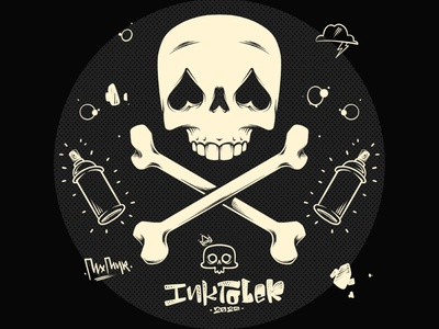 Inktober 2020 Day #1 art character halftone skull and crossbones skull art skull designer graphic design atx austin artist procreate vector illustrator illustration drawing ink inktober2020 inktober
