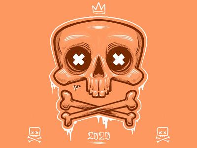 Skull XX artwork halftone digital art artist art design illustration drawing illustrator procreate skull and crossbones skull