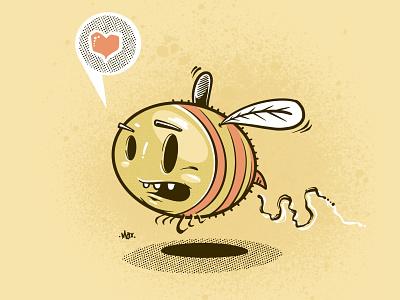 Busy Bee ipad art halftone heart love animal insect graphic bee artist digital art design art procreate illustration illustrator drawing character