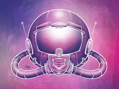 Spaceman artwork illustrator drawing spaceship alien moon mars helmet technology science austin atx artist art illustration astronaut space