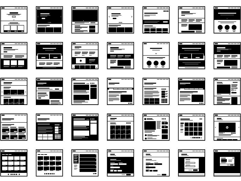 "Icon Set - ""Website Wireframes"" interaction design website user strategy design user experience ui iconography icons web design wireframes ux"