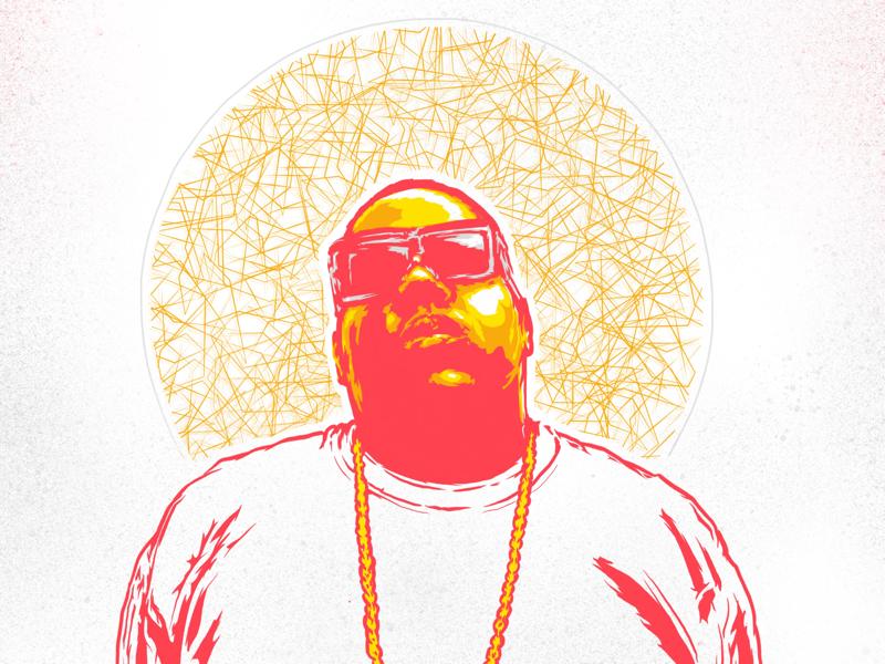 Notorious BIG - Hip hop iPad portrait illustration art artwork mxmnr posterized drawing portrait graphic design poster procreate ipad illustration