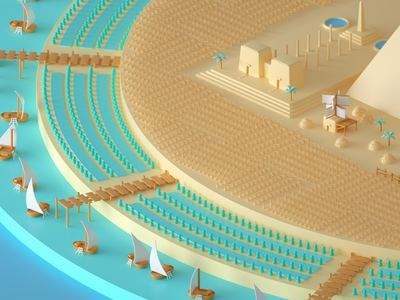 Tiny Egypt WIP cinema 4d game board game tiny isometric iso toy design illustration 3d c4d