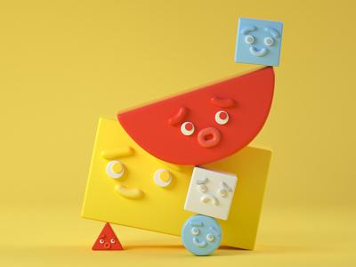 BlockBros - Yellow blockbros blocks shapes cinema 4d toy design illustration 3d c4d