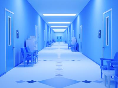 Blue Hallway cute illustration cinema 4d monochrome hallway c4d
