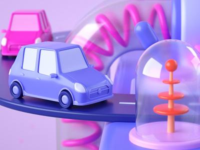 Lyft - Slot Machine slots science cars illustration cinema 4d motion 2d 3d animation c4d