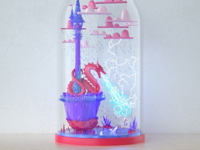 Bottled Up - Confidence Wide color castle dragon knight cute illustration character cinema 4d 3d c4d