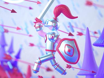 Bottled Up - Confidence Close color princess castle dragon knight cute illustration character cinema 4d 3d c4d