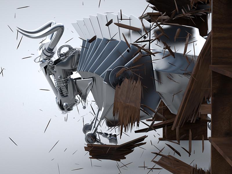 Metal Bull 3d cinema 4d c4d cinema4d modeling animation destroy destructive shatter