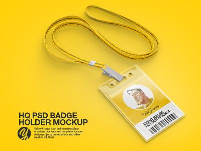 PSD Badge Holder Mockup yellow images mockups mockup