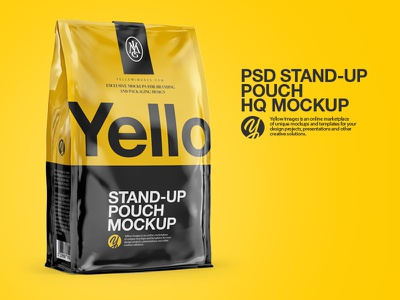 Stand-Up Pouch  PSD Mockup 3d yellowimages yellow images mockup psd pouch