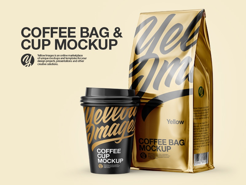 Coffee Bag & Cup PSD Mockup coffee bag 3d render mockup yellow images