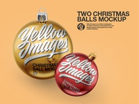 Two Christmas Balls PSD Mockup
