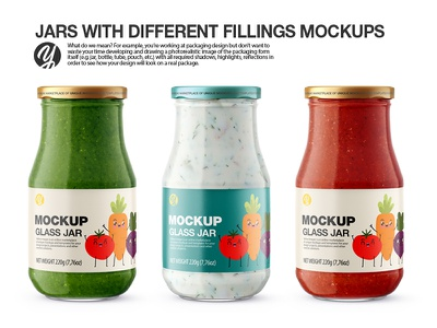 Jars with Different Fillings PSD Mockup packaging mockup yellow images jars