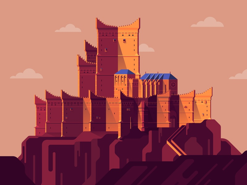 Dragonstone dragonstone game of thrones castle graphic flat vector illustration