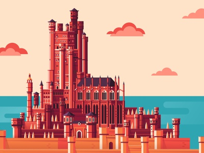 King's Landing red keep kings landing game of thrones castle city graphic flat vector illustration