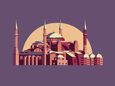 Hagia Sophia building hagia sophia istanbul turkey graphic flat vector illustration