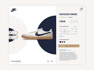 Concept Product Page for Nike X JCrew Killshot II Sneakers figma challenge daily ui fashion sneakers concept ecommerce product page desktop ui design
