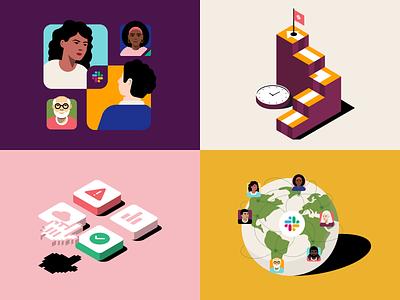 Slack illustrations illustrator design branding brand illustration