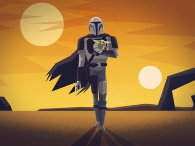 This is the Way. grogu star wars mandalorian character design vector illustration