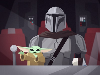 Grogu & The Mandalorian vector character design animation star wars illustration