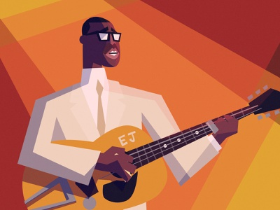 ELMORE JAMES guitar portrait caricature the blues blues music character design vector illustration