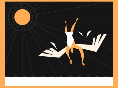 Fall of Icarus greek mythology vector illustration