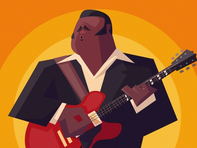 FREDDIE KING portrait caricature texas the blues music character design vector illustration
