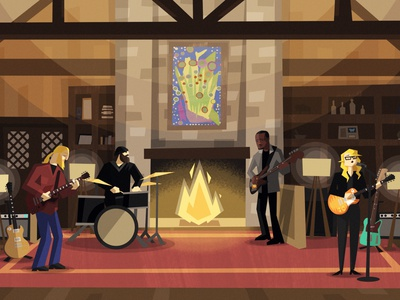 TEDESCHI TRUCKS BAND | Fireside Sessions jam music caricature character design vector illustration