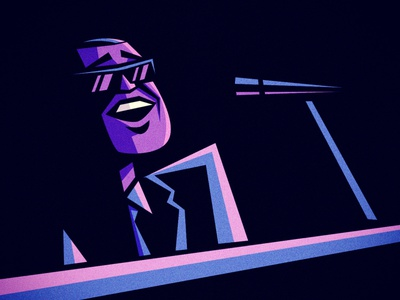 RAY CHARLES caricature portrait character design illustration