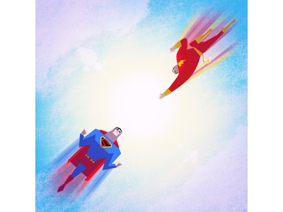 CLASH | Superman vs Shazam! comic books superheroes superman shazam illustration