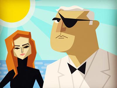 EMILIO LARGO & FINONA VOLPE james bond caricature character design vector illustration