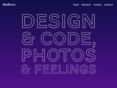 Personal Site Splash Page personal site feelings photos code design
