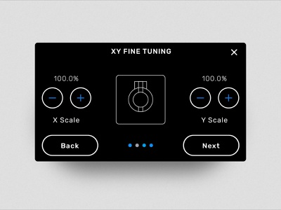 X - Y Axis Fine Tuning 3d printing 3d printer 3d ux ui interface formlabs diagram design dark mode