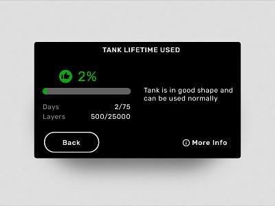 Tank Lifetime embedded button icon touchscreen dark ui dark darkmode infographic graphic 3d printer interface formlabs ui ux design