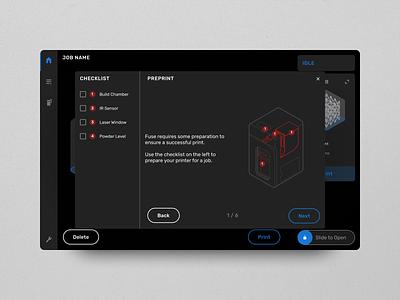 Fuse 1 UI dark mode diagram 3d printing ux 3d ui interface design 3d printer formlabs