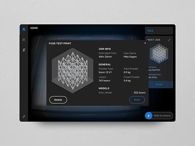 Fuse 1 UI dark mode icon illustration diagram branding 3d printing interface design 3d printer formlabs