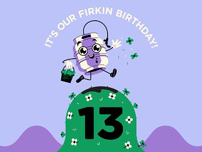 13th Firkin Birthday! beer ale taproom tap keg illustrator tshirt design minimal illustration brewery brewer birthday