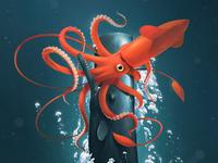 Battle in the Deep hunter feast cephalopod nautical ocean deep sea giants colossal squid whales sperm whale