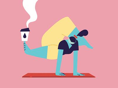 Flexibility life workout gym coffee routine balance physical mental health health lockdown quarentine wfh stretch flexible flexibility yoga digital design photoshop 2d illustration