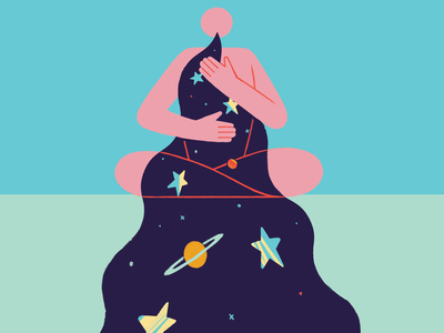 Breathe lungs exhale inhale refresh remote wfh work life balance meditate covid universe space cosmic character photoshop adobe design 2d illustration