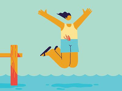 Pursue Joy lake pool flip flops swim jump dive dock swimming action mindful mental health lifestyle health joyful happiness happy character 2d design illustration