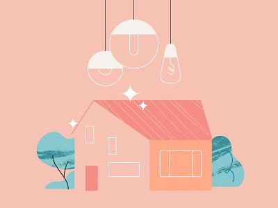 Make Your Home Shine value realestate mortgage house pendant lightbulb seller buyer shimmer pattern texture illustration